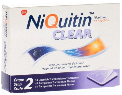NiQuitin Clear 14mg 14 Patches | Stoppen met roken