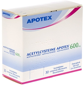Acetylcysteine Apotex 600mg 30 Comprimés Effervescents