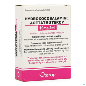Hydroxocobalamine Acetas 10mg 3 Ampoules x2ml