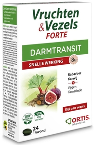 Ortis Fruits & Fibres Forte Transit Intestinal Action Rapide 24 Comprimés